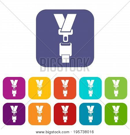 Safety belt icons set vector illustration in flat style In colors red, blue, green and other