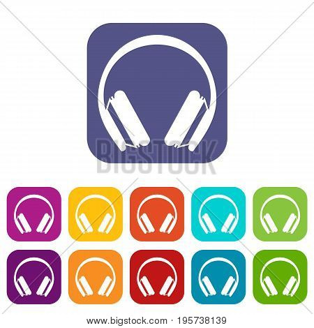 Protective headphones icons set vector illustration in flat style In colors red, blue, green and other