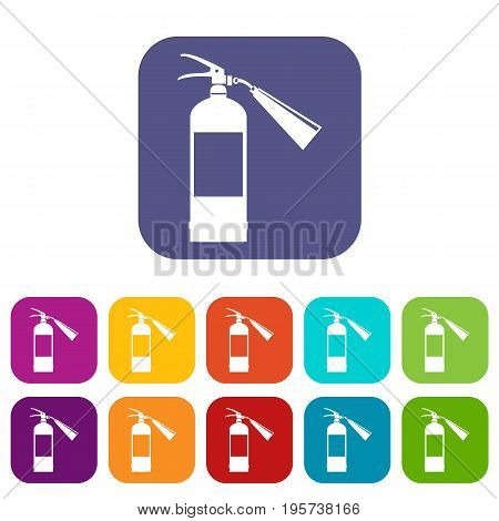 Fire extinguisher icons set vector illustration in flat style In colors red, blue, green and other