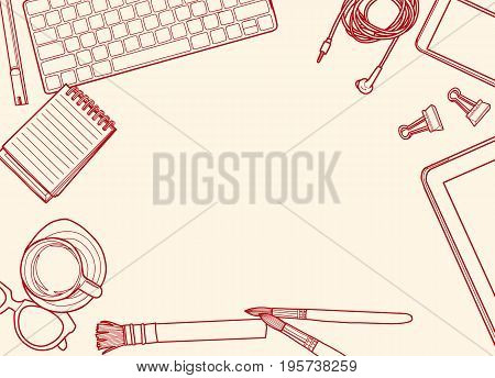 Hand Drawn Vector Illustration ,top View Of Office Supplies And Gadgets On A Table Background. View