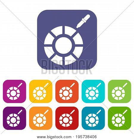 Color picker icons set vector illustration in flat style In colors red, blue, green and other