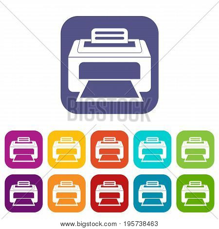 Modern laser printer icons set vector illustration in flat style In colors red, blue, green and other