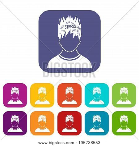 Word stress in the head of man icons set vector illustration in flat style In colors red, blue, green and other