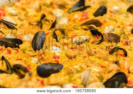 Paella valenciana rice with saffron and seafood