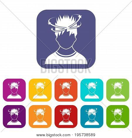 Man with dizziness icons set vector illustration in flat style In colors red, blue, green and other