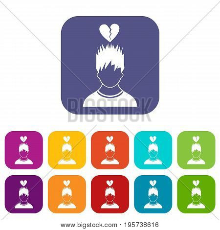 Man with broken red heart over head icons set vector illustration in flat style In colors red, blue, green and other