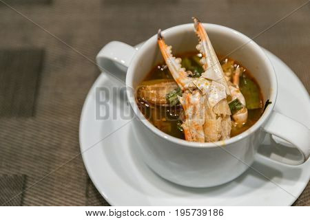 Thai Crab tom yum spicy chowder soup