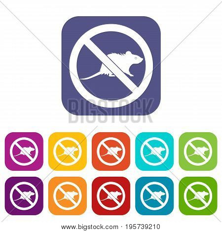 No rats sign icons set vector illustration in flat style In colors red, blue, green and other