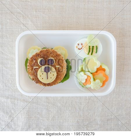 Bear And Bumble Bee Lunch Box, Fun Food Art For Kids