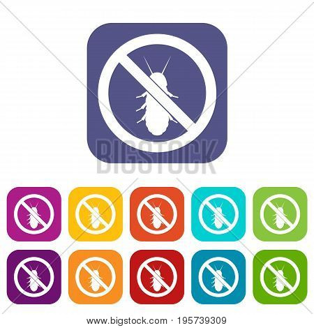 No termite sign icons set vector illustration in flat style In colors red, blue, green and other