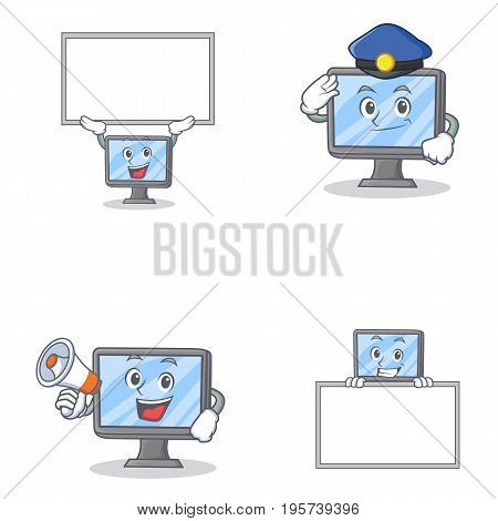 Set of monitor character with bring board police megaphone vector illustration