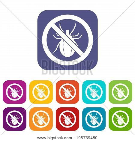 No bug sign icons set vector illustration in flat style In colors red, blue, green and other
