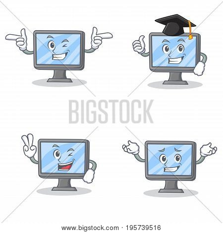 Set of monitor character with wink two finger graduation vector illustration