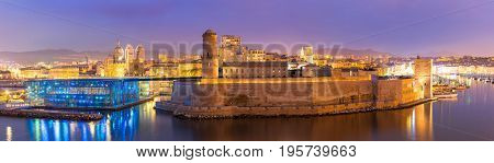 Marseille Saint Jean Castle and Cathedral de la Major and the Vieux port in France panorama