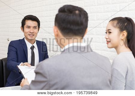Asian People Working At Restuarant People Interview Businessman For Working Job And Sign Contact Por