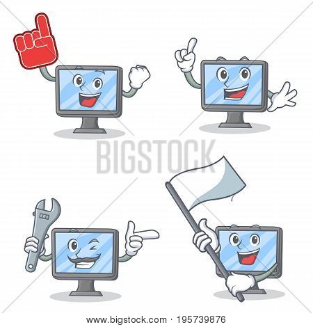 Set of monitor character with foam finger mechanic and flag vector illustration