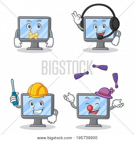 Set of monitor character with silent headphone automotive juggling vector illustration