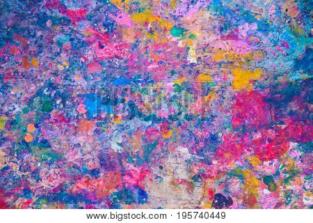 Abstract watercolor, ink splashes on wood floor at the public area for drawing, Colorful splashes of paint as background