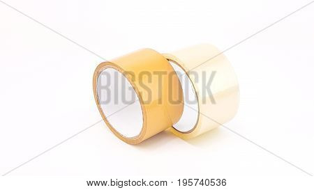 Thick Transparent Plastic Tape And Brown Plastic Tape In White Big Core