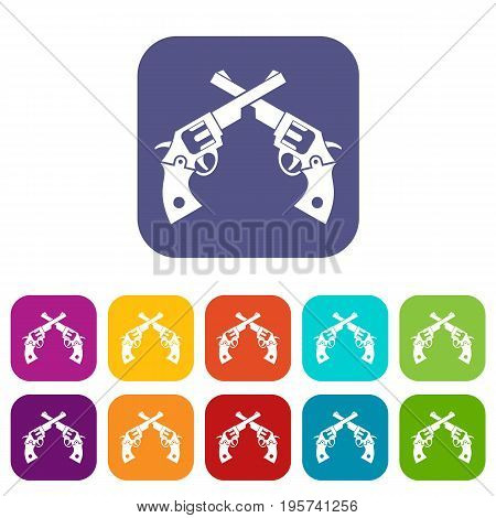 Revolvers icons set vector illustration in flat style In colors red, blue, green and other