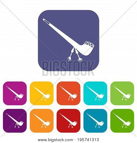 Smoking pipe icons set vector illustration in flat style In colors red, blue, green and other