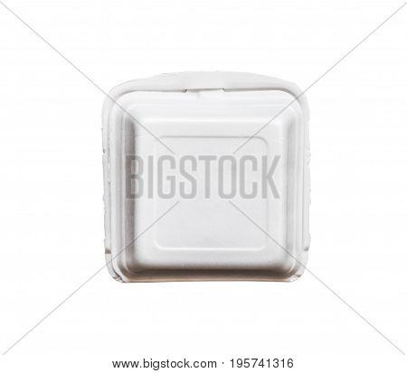 empty foam box isolated on white background