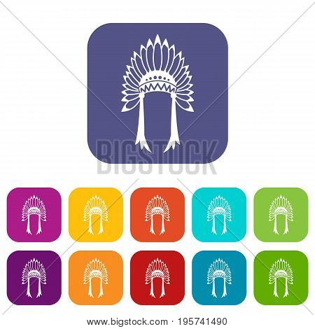 Indian headdress icons set vector illustration in flat style In colors red, blue, green and other