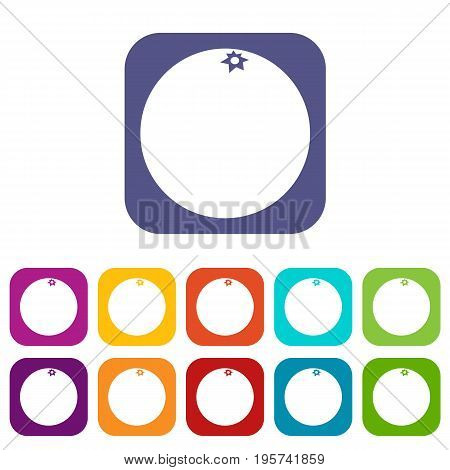 Mandarin icons set vector illustration in flat style In colors red, blue, green and other