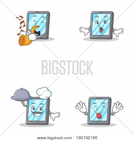 Set of tablet character with trumpet tongue out suprised chef vector illustration