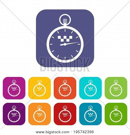 Speedometer in taxi icons set vector illustration in flat style In colors red, blue, green and other
