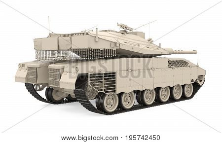 Military Tank isolated on white background. 3D render