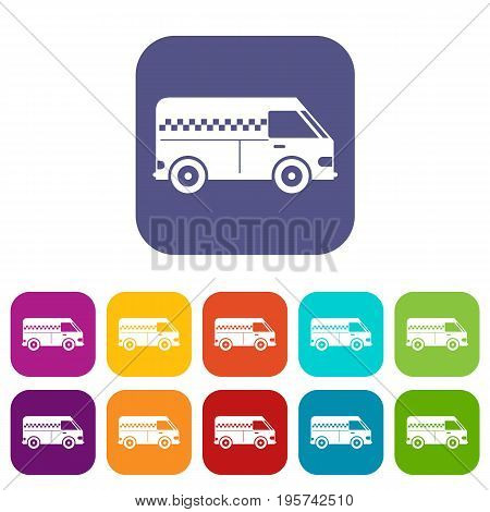 Minibus taxi icons set vector illustration in flat style In colors red, blue, green and other