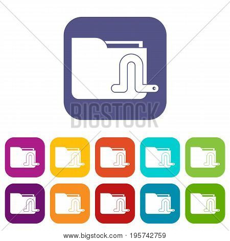 Computer worm icons set vector illustration in flat style In colors red, blue, green and other