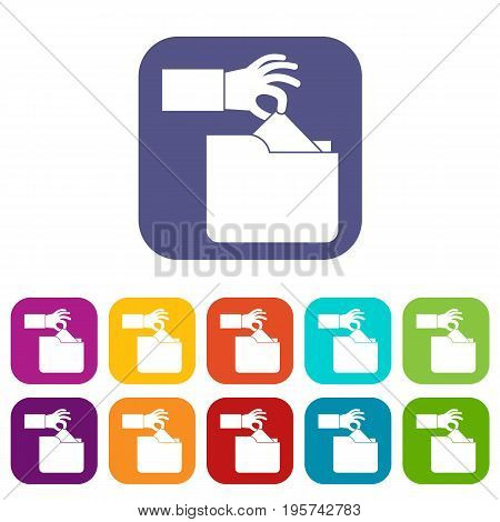 Robbery secret data in folder icons set vector illustration in flat style In colors red, blue, green and other