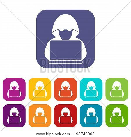 Computer hacker with laptop icons set vector illustration in flat style In colors red, blue, green and other