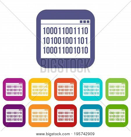 Binary code icons set vector illustration in flat style In colors red, blue, green and other