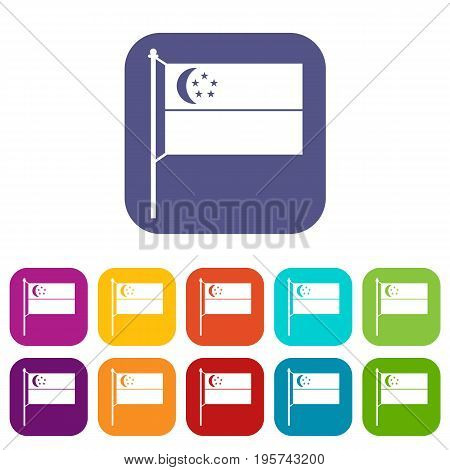 Flag of Singapore icons set vector illustration in flat style In colors red, blue, green and other