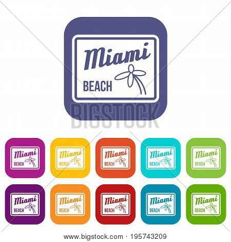 Miami beach icons set vector illustration in flat style In colors red, blue, green and other