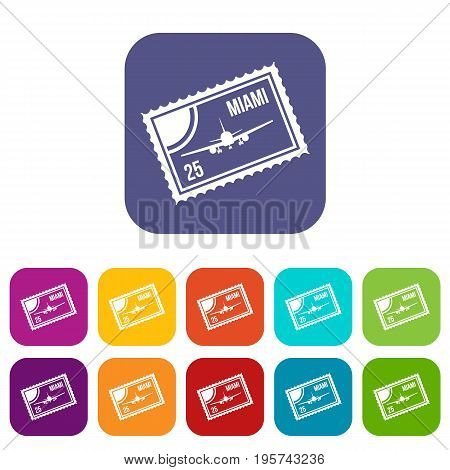 Stamp with plane and text Miami inside icons set vector illustration in flat style In colors red, blue, green and other