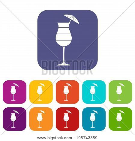 Layered cocktail with umbrella icons set vector illustration in flat style In colors red, blue, green and other