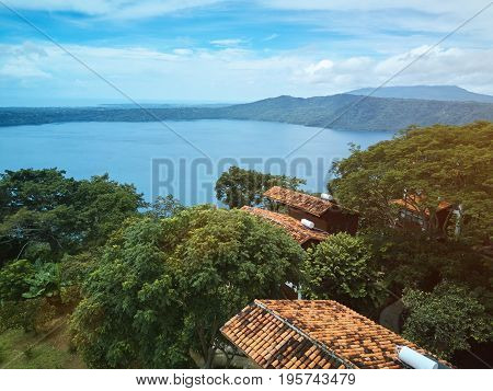 Lagoon Apoyo in Nicaragua on sunny day light