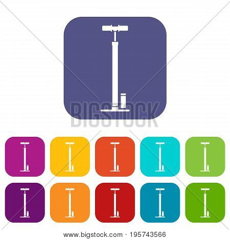 Bicycle pump icons set vector illustration in flat style In colors red, blue, green and other