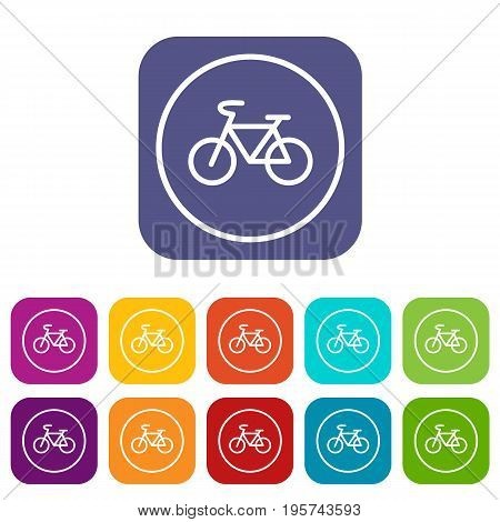 Sign bike icons set vector illustration in flat style In colors red, blue, green and other