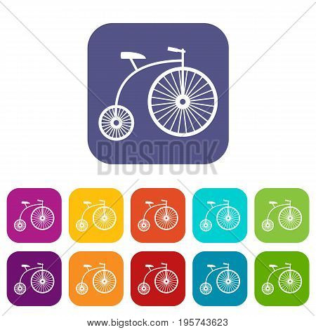 Penny-farthing icons set vector illustration in flat style In colors red, blue, green and other