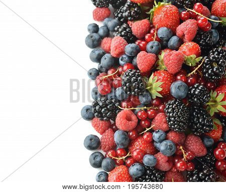 Fresh forest berries isolated on white background