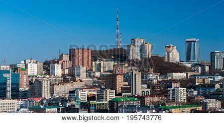 Vladivostok Russia - November 17 2016: Vladivostok view of the mountain