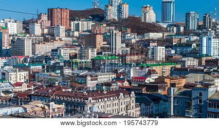 VLADIVOSTOK, RUSSIA - November 17, 2016: Vladivostok cityscape, view from the mountain Krestovaya.