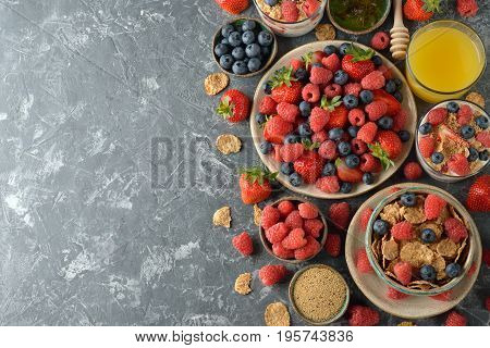Healthy food on a gray background close up