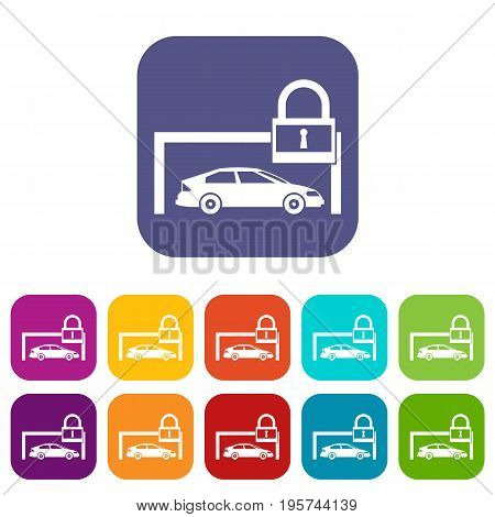 Car and padlock icons set vector illustration in flat style In colors red, blue, green and other