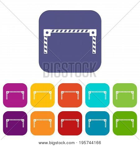 Barrier icons set vector illustration in flat style In colors red, blue, green and other